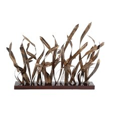 Aviary Bloomed Rustic Bamboo Leaves Table Art Sculpture
