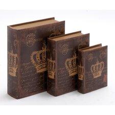 3 Piece Wooden Book Box Set