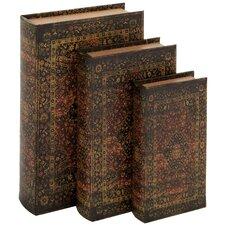 3 Piece Decorative Wood Fabric Book Box Set