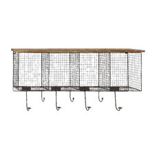 Wood and Metal Wire Coat Rack
