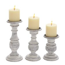 3 Piece Wooden Candlestick Set