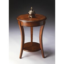 """Masterpiece 18"""" Accent Table in Distressed Olive Ash Burl"""