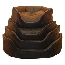 Soft Suede Dog Bed in Brown