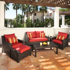 Deco 6 Piece Loveseat and Club Deep Seating Group with with Cushions