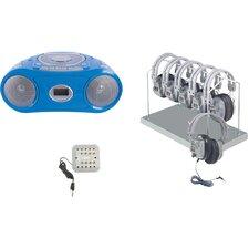 Cassette/CD/AM-FM Listening Center 6 stations with Headphone Rack