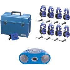 8 Piece Kids Person Listening Center Set with Bluetooth, CD/Cassette/FM Boombox and Deluxe Over-Ear Blue Kids Headphones