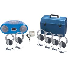 6 Piece Person Listening Center Set with Bluetooth Cassette/CD/FM Boombox and Deluxe Over-Ear Headphones