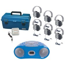 6 Piece Person Listening Center Set with Bluetooth CD/Cassette/FM Boombox and Deluxe Over-Ear Headphones
