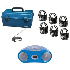 6 Piece Wireless Person Listening Center Set with Bluetooth, CD/Cassette/FM Boombox