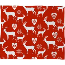 Natt Christmas Deer Plush Fleece Throw Blanket