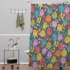 Bianca Green Roses Shower Curtain