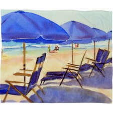 Beach Chairs Fleece by Laura Trevey Throw Blanket