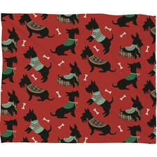 Pimlada Phuapradit Christmas Canine Scottie Fleece Polyester Throw Blanket
