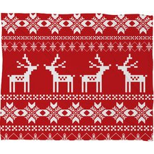Natt Christmas Deer Fleece Polyester Throw Blanket