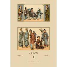 Japanese Civil Costumes and Transportation by Auguste Racinet Graphic Art