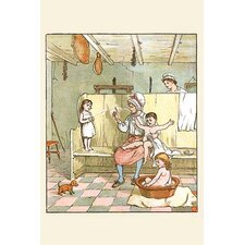 'Maid Washes The Babies in The Laundry Room' by Randolph Caldecott Painting Print