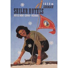 Seiler Hotel: Woman Adjusting Skis by Mattei F. Vintage Advertisement