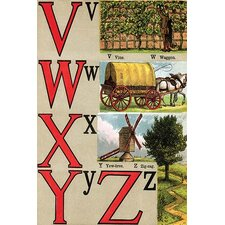 'V, W, X, Y, Z Illustrated Letters' by Edmund Evans Wall Art