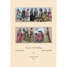 'Feminine Dress of 16th Century Italy and Holland' by Auguste Racinet Graphic Art