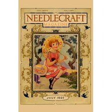 'Little Girl Holds a Doll and Sports and Umbrella' by Needlecraft Magazine Wall Art