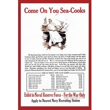 'Come on You Sea-Cooks Enlist in Naval Reserve Force' Vintage Advertisement