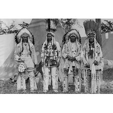 'Four Native American Chiefs in Traditional Clothing' Photographic Print