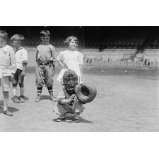 'Pint Sized Catcher Awaits A Pitch in Children's Baseball Game' Photographic Print