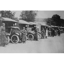 'A Line of Women Ambulance Drivers with Their Vehicles' Photographic Print