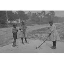 'African American Children Pretend to Play Golf on Country Road' Photographic Print
