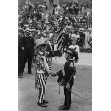 'Costumed Child Dressed as Uncle Sam Welcomes Another Toddler' Photographic Print