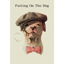 Dog in Hat and Bow Tie Smoking a Cigar Graphic Art on Wrapped Canvas