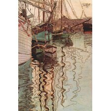 Sailboats in Wollenbewegten Water by Egon Schiele Painting Print on Wrapped Canvas