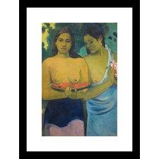 2 Tahitian Women Framed Painting Print