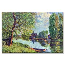 River Landscape at Moret sur Loing Painting Print on Wrapped Canvas