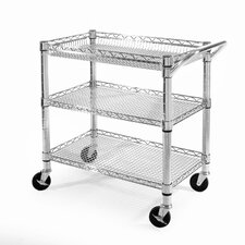 UltraZinc Three Shelf NSF Commercial Steel Wire Utility Cart
