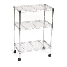 """Home-Style 32"""" H 3-Shelf Steel Wire Shelving/Cart"""