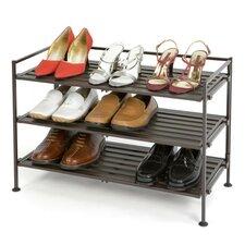 Resin-Wood Composite 3 Tier Utility Shoe Rack