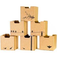 Bird Print Cardboard Cubby Bin (Set of 6)