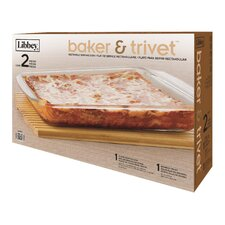 3.4 qt Rectangle Baker and Trivet