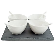 White Basics Slate 9 Piece Square Teardrop Dipping Set