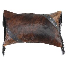 Cosmopolitan Specialty Leather and Leather Suede Fringe Throw Pillow