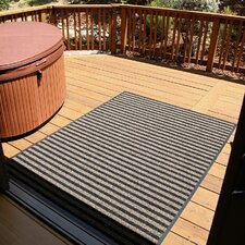 Brush Stripes All Weather Black/Tan Outdoor Area Rug