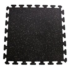 iFLEX Recycled Rubber Interlocking Floor Tiles in Black with Gray Specks