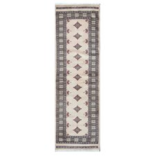 Tribal Bokhara Hand-Knotted Ivory/Pink Area Rug