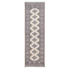 Tribal Bokhara Hand-Knotted Ivory/Lavender Area Rug