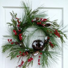 Pine Cedar and Red Berry Wreath