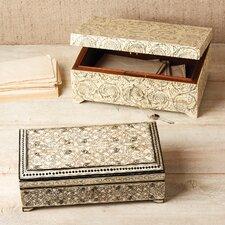 2 Piece Leaf Bone Inlay Jewelry Box Set with Lock and Key