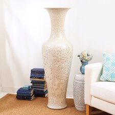 Mother of Pearl Effect Long Necked Vase