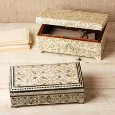 Zanzibar Black Leaf Design Bone Inlay Jewelry Box with Lock/Key (Set of 2)
