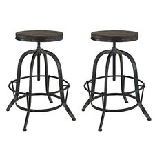 Collect Adjustable Height Swivel Bar Stool (Set of 2)